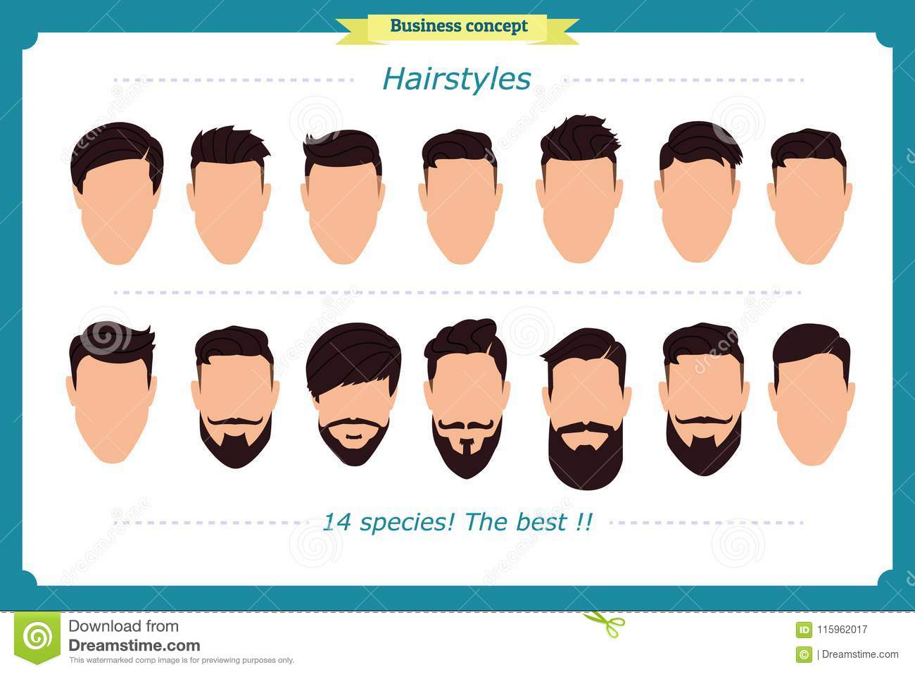 Hair Styling Vector Illustration Isolated On White Background Men S