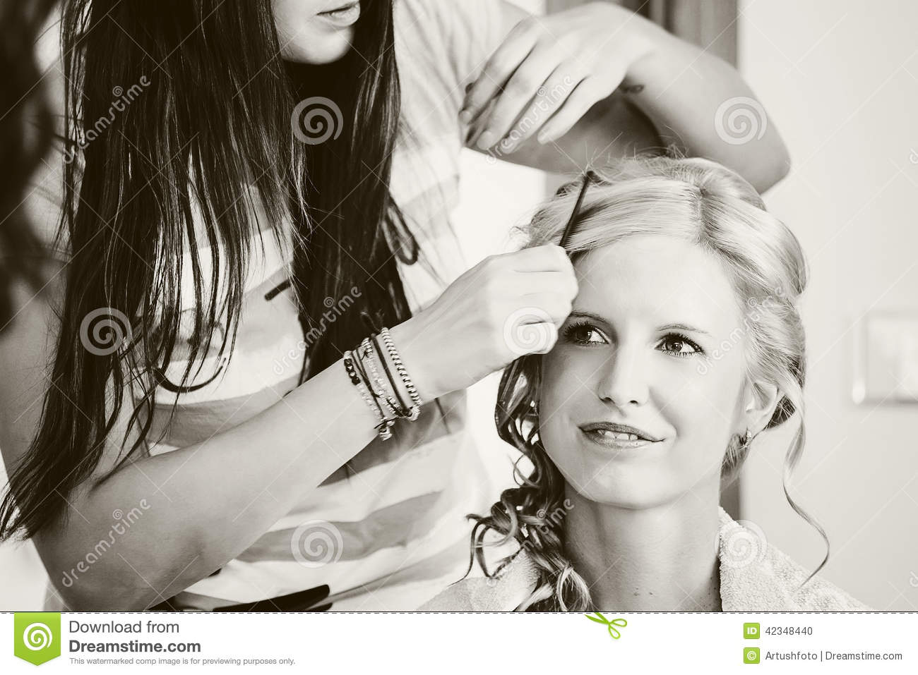 Hair Stylist Designer Making Hairstyle For Woman Stock Photo - Image ...