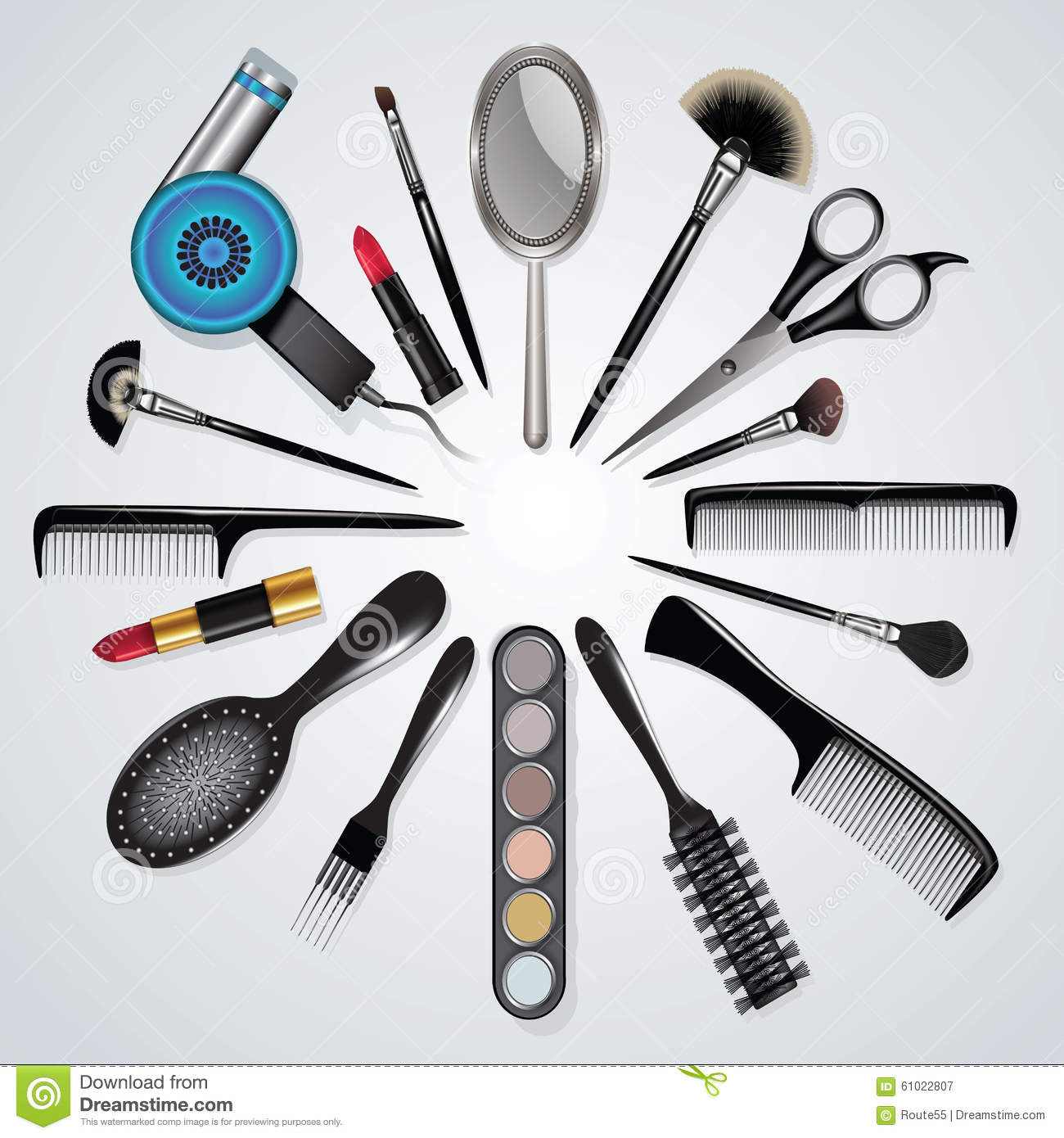 Hair Stylist And Makeup Tools Stock Vector - Illustration Of Cutter Glamor 61022807