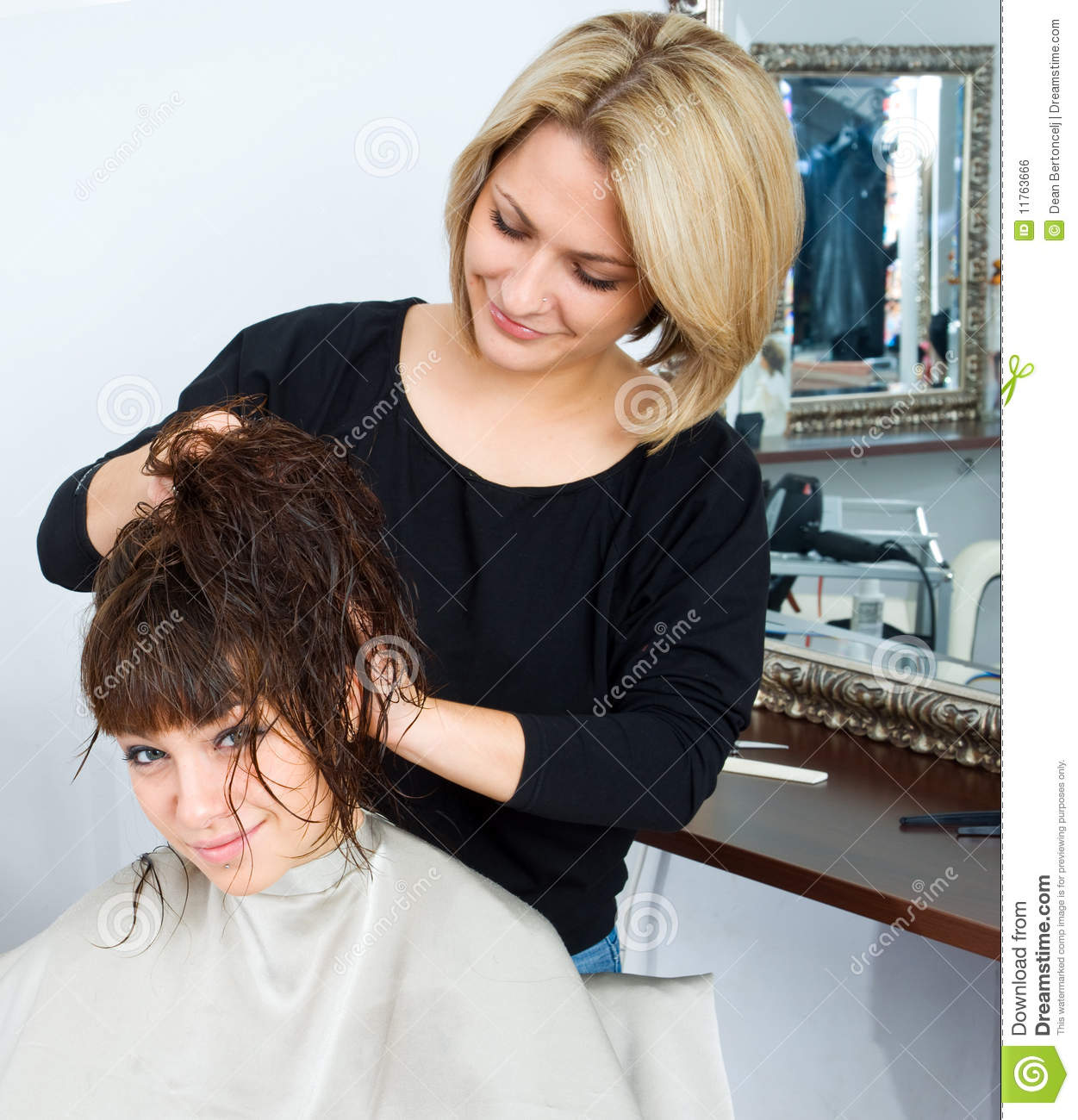 Professional Hairdresser : Professional Hair Stylist At Work Hair stylist in work