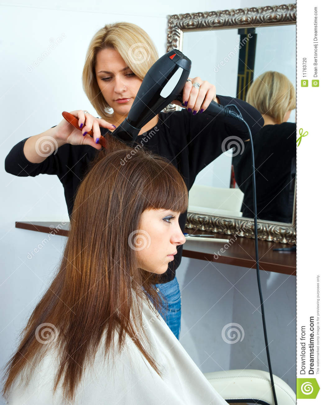Hair stylist in work stock photo image 11763720 for Hair salon perfect first essential