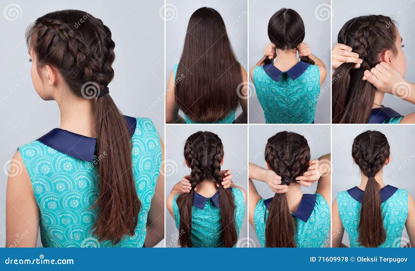 Hair Tutorial Braid Hairstyle Tutorial For Long Hair Stock Photo