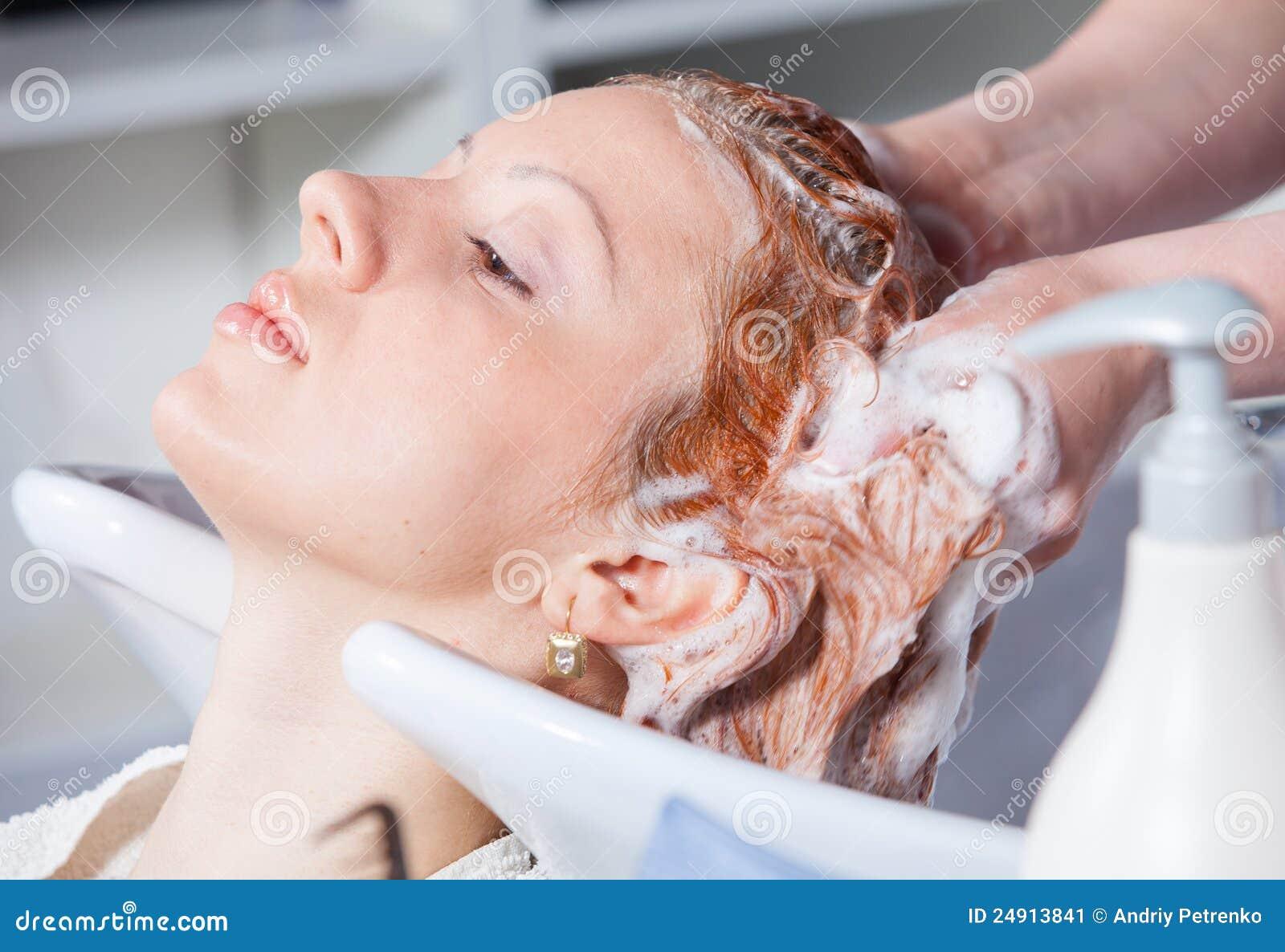 Hair washing at a hairdressing salon stock image image for Wash hair salon