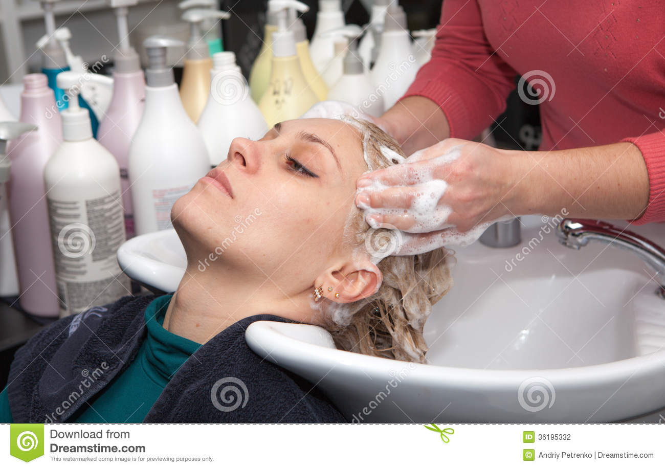Hair washing at a hairdressing salon stock photography for Salon younga