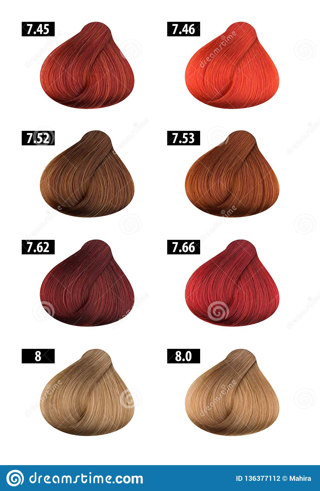 Hair Dye Colours Chart Colour Numbers 8 Stock Photo Image Of