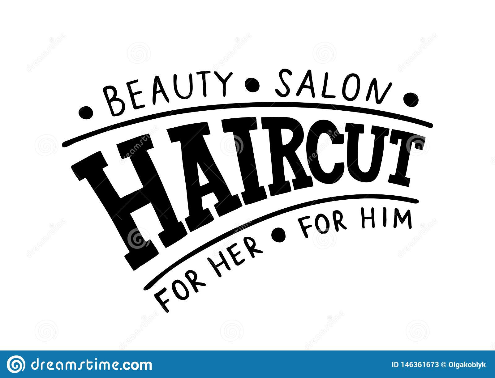 Haircut Beauty Salon For Her For Him Hand Drawn Logo Signboard Template For Hair And Beauty Salon Stock Vector Illustration Of Hairdresser Girl 146361673