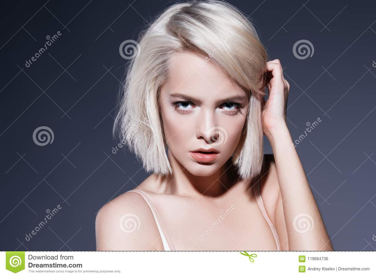 31f4b5494 Haircuts for short hair stock photo. Image of beauty - 119664736