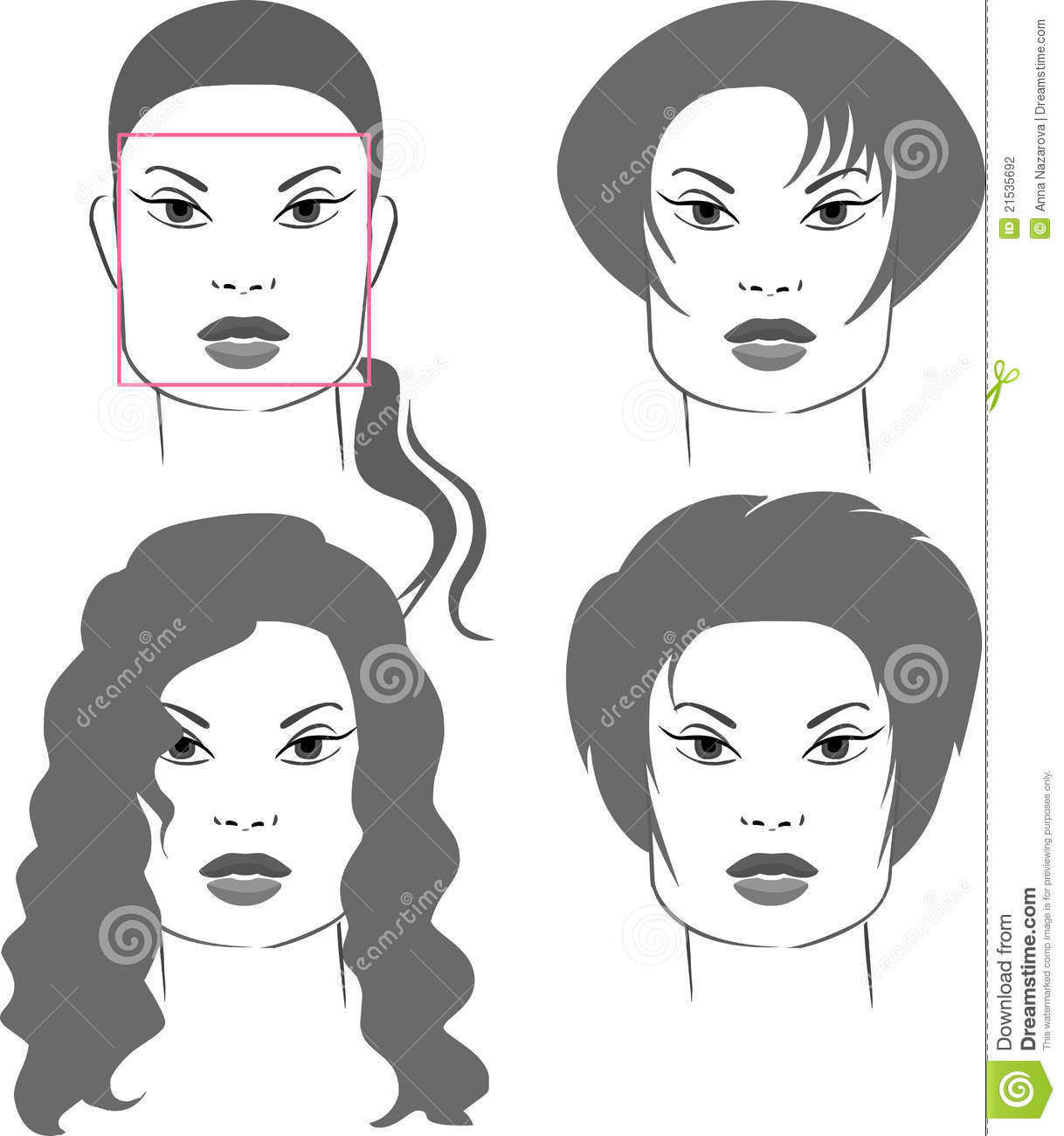 Haircuts For Square Face Shapes Stock Vector Image 21535692