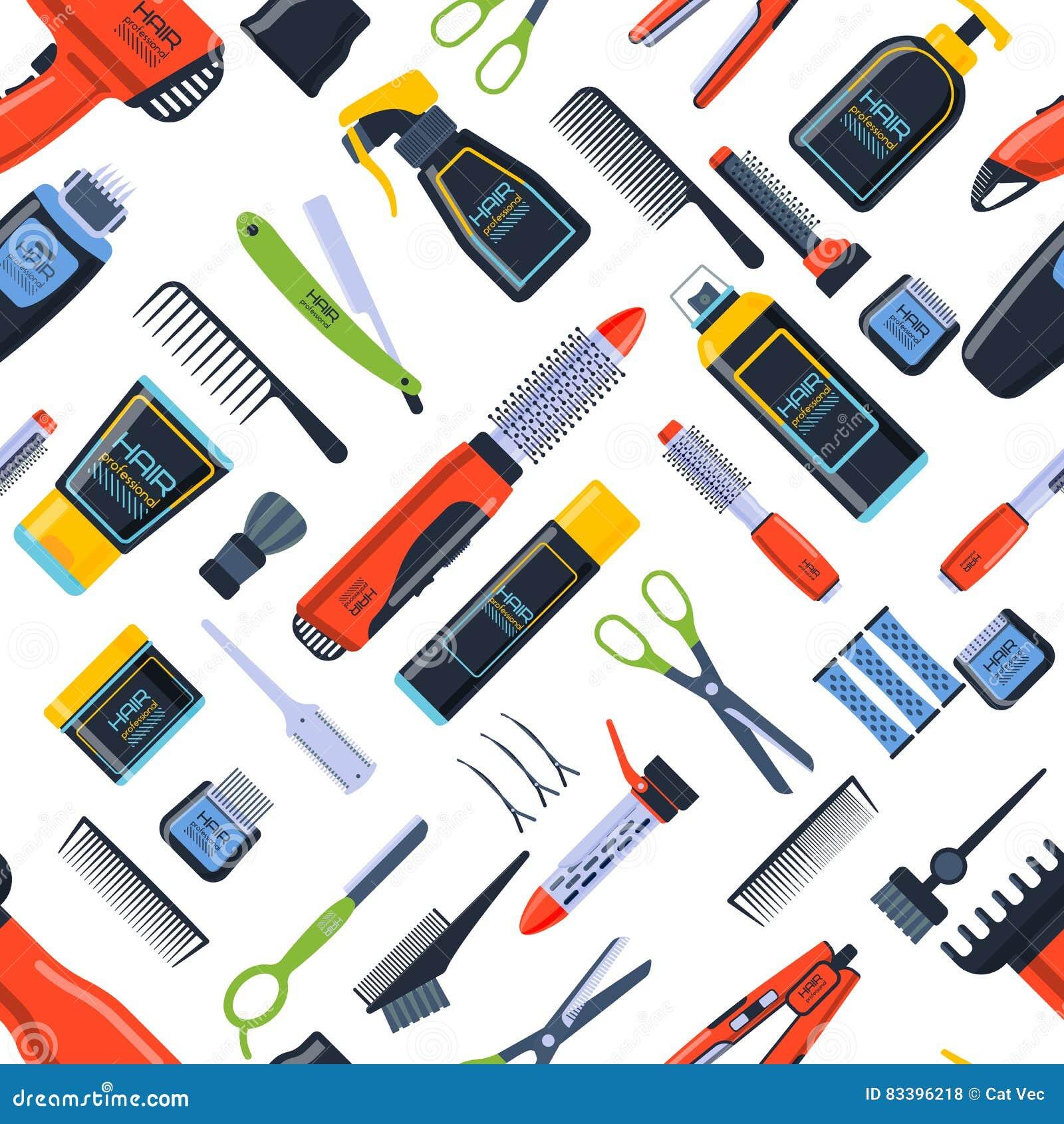 Hairdress Seamless Pattern Vector Illustration Stock Vector Illustration Of Hair Clip 83396218