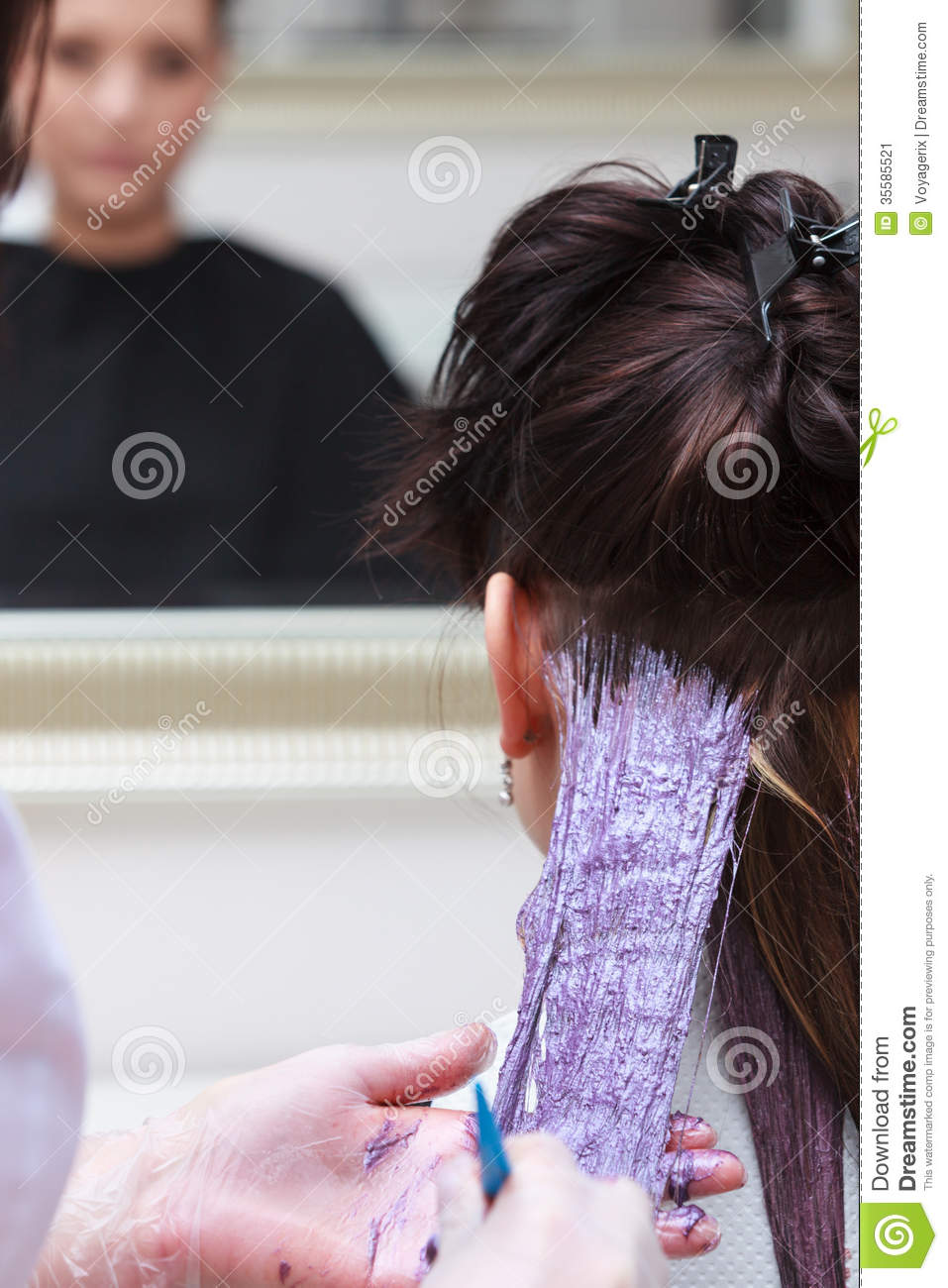 hairdresser applying color female customer at salon  doing beautician clipart free beautician clip art free