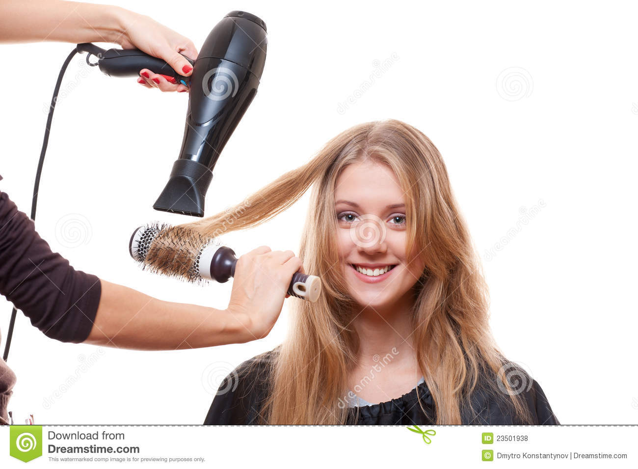 Hairdresser Blow Dry Hair Stock Photo Image Of Hands