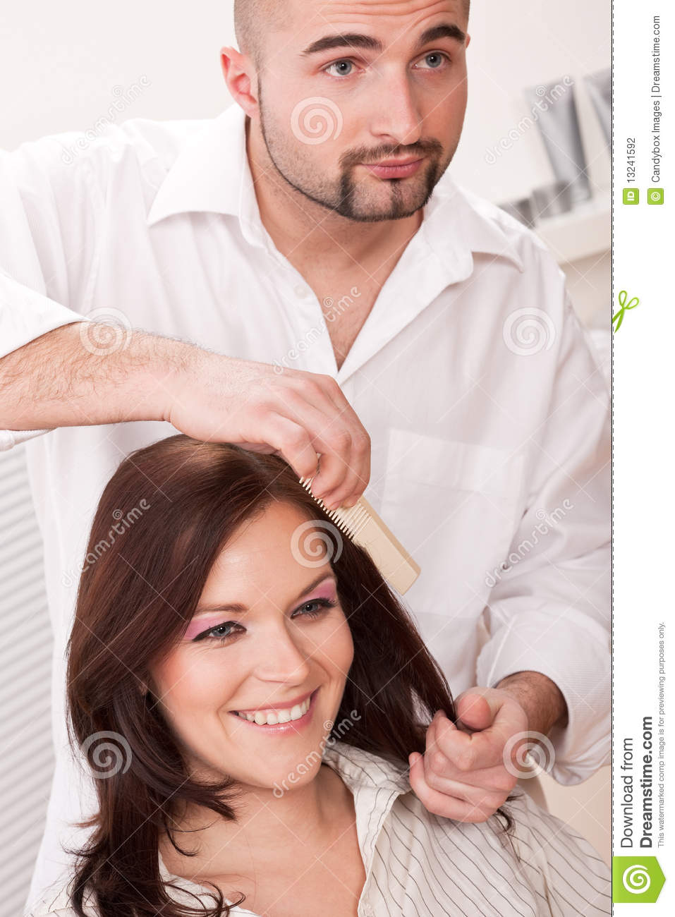 Hairdresser Comb Customer At Salon Stock Photography ...