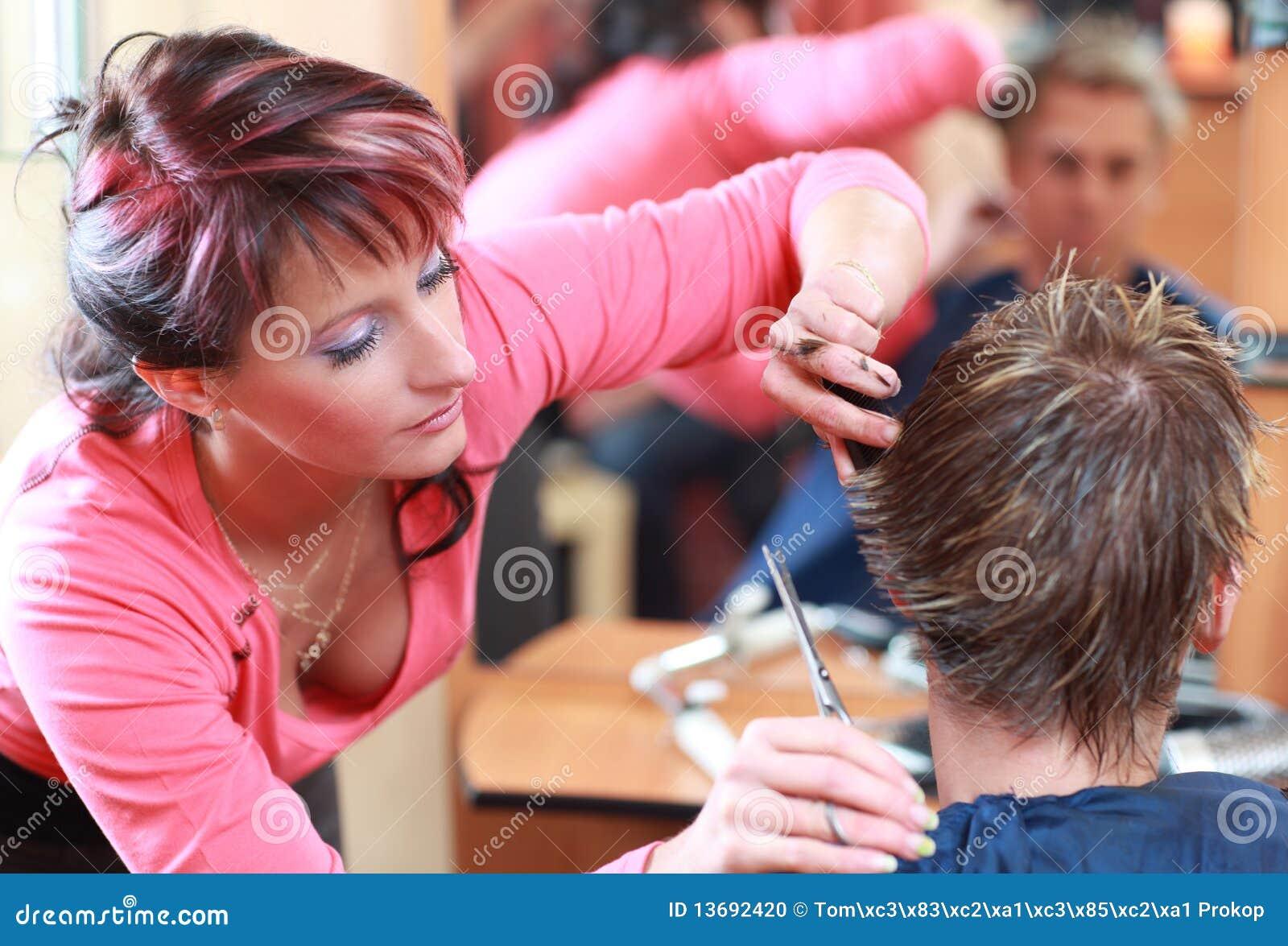 Hairdresser Cutting Hair Stock Photo Image Of Customer 13692420