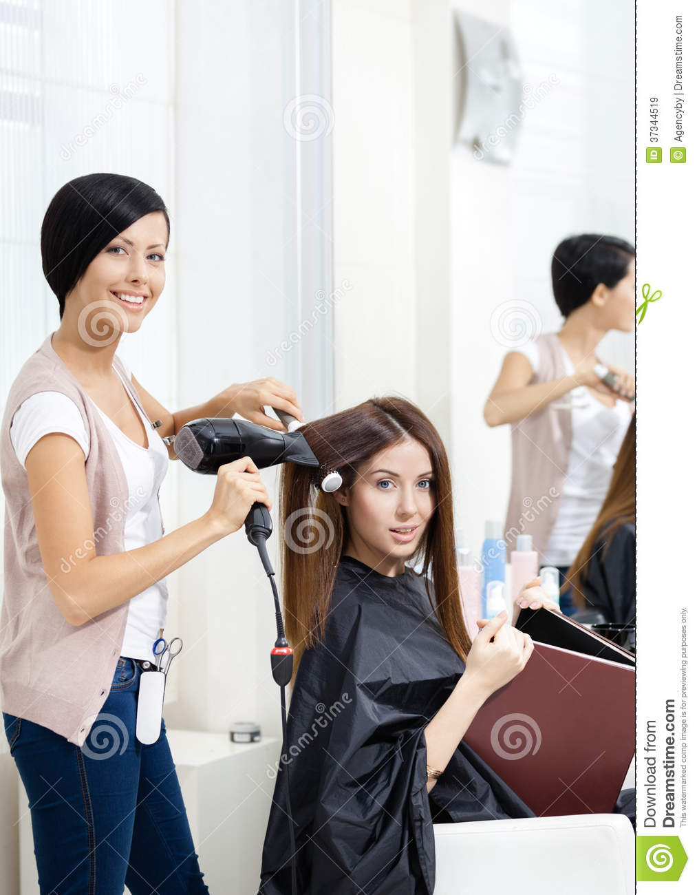 Hairdresser Does Hair Style Of Woman In Hairdressing Salon Stock Image Image 37344519