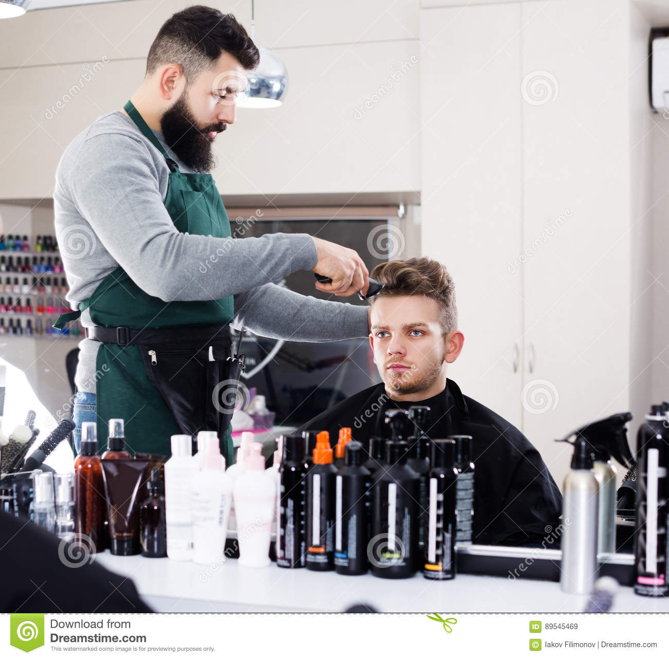 Hairdresser Doing New Haircut Stock Image - Image: 89545469