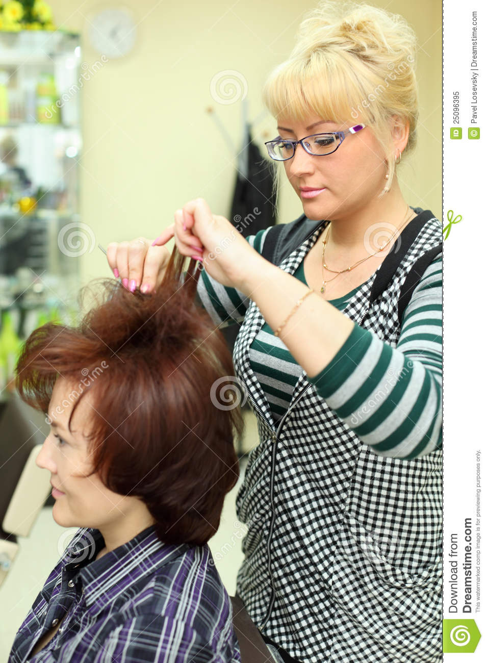 hair styling free hairdresser makes hair styling for royalty free 9225