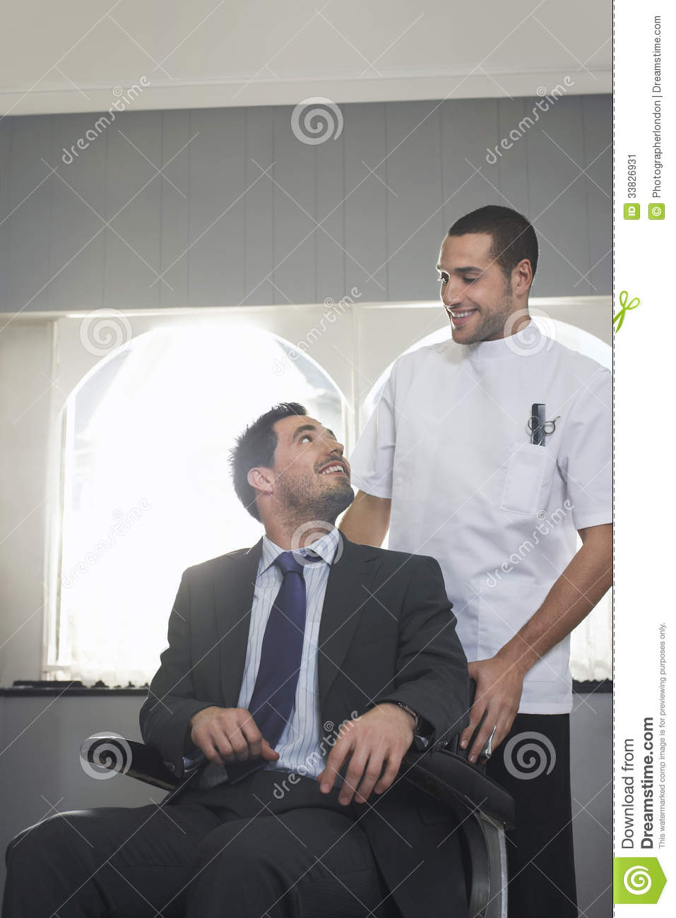 Hairdresser Preparing Businessman For Haircut Stock Image Image Of