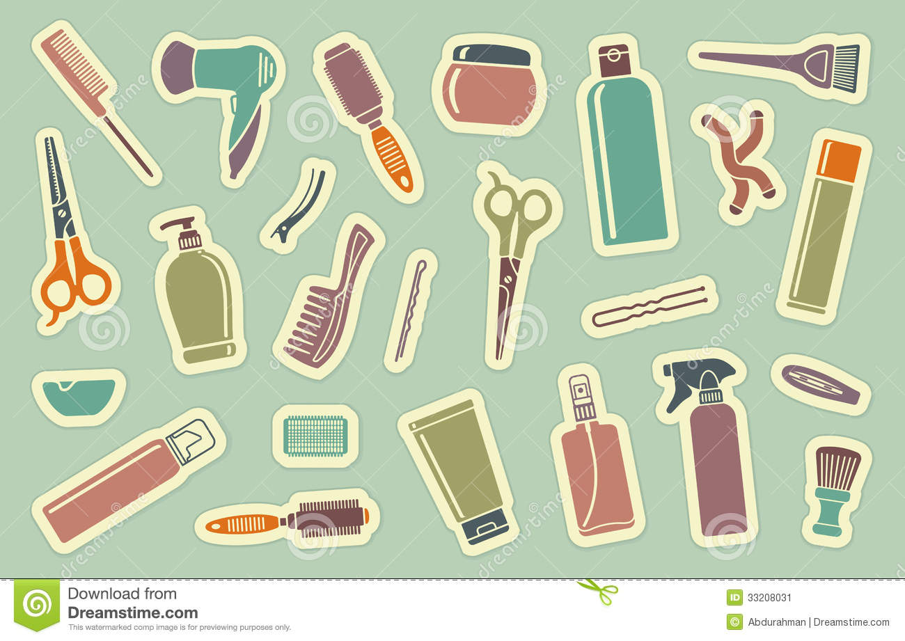 Hairdresser S Accessories On Stickers Stock Vector