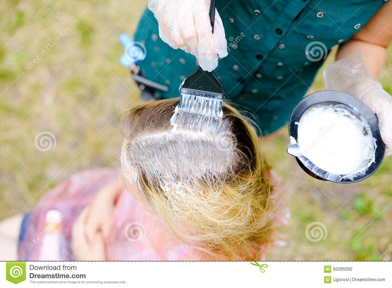 Hairdresser\'s Hands In Gloves Coloring Hair With Stock Photo ...
