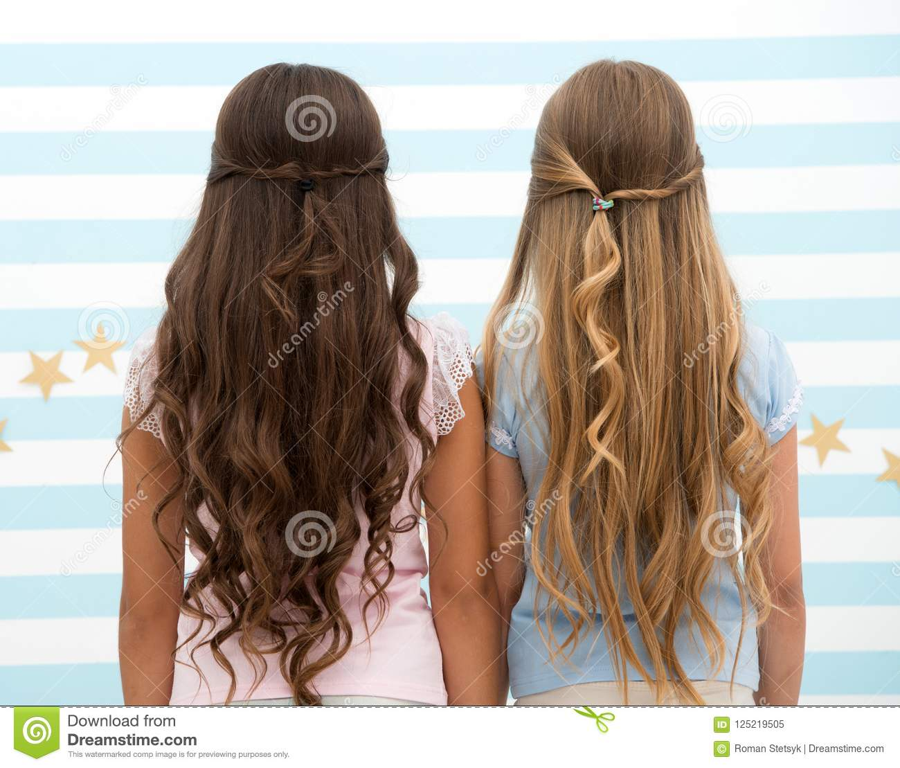 Hairdresser Salon Services Two Little Girls Kids With Long Hair At