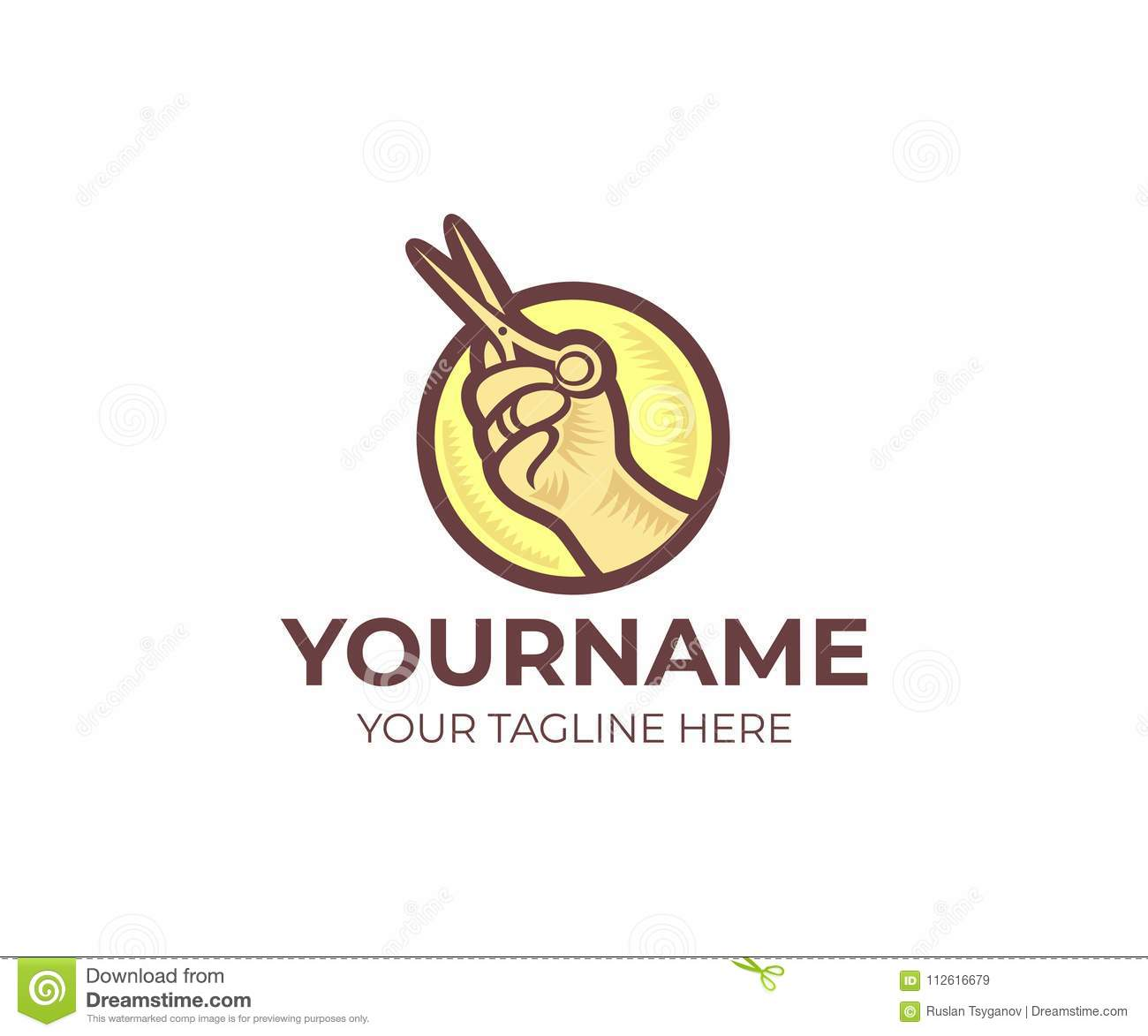 hairdresser shop and hand holding scissors round logo template