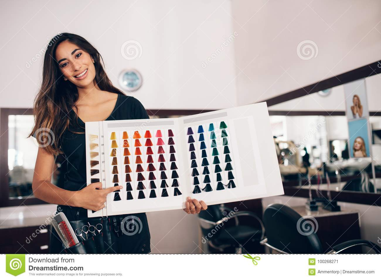 Hairdresser Showing Hair Color Shade Card At Salon Stock Image ...