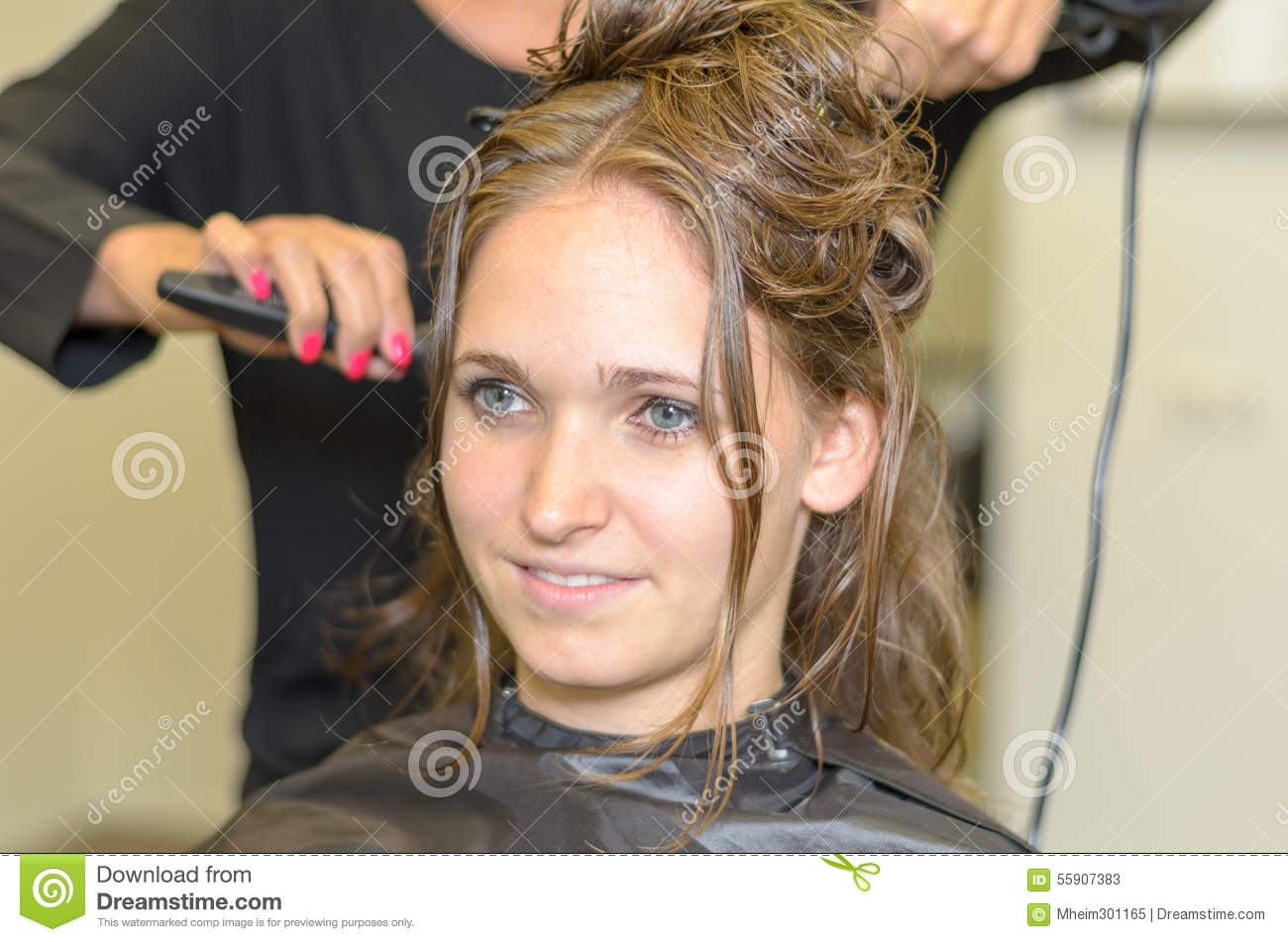 Hairdresser Styling Long Hair Stock Photo Image - Styling long hair