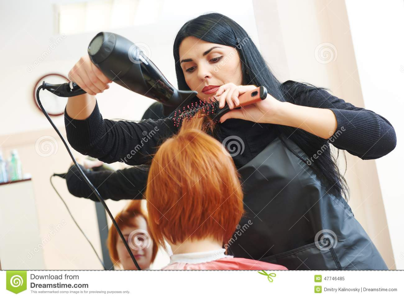 Hairdresser At Work Drying Hair Stock Photo Image 47746485