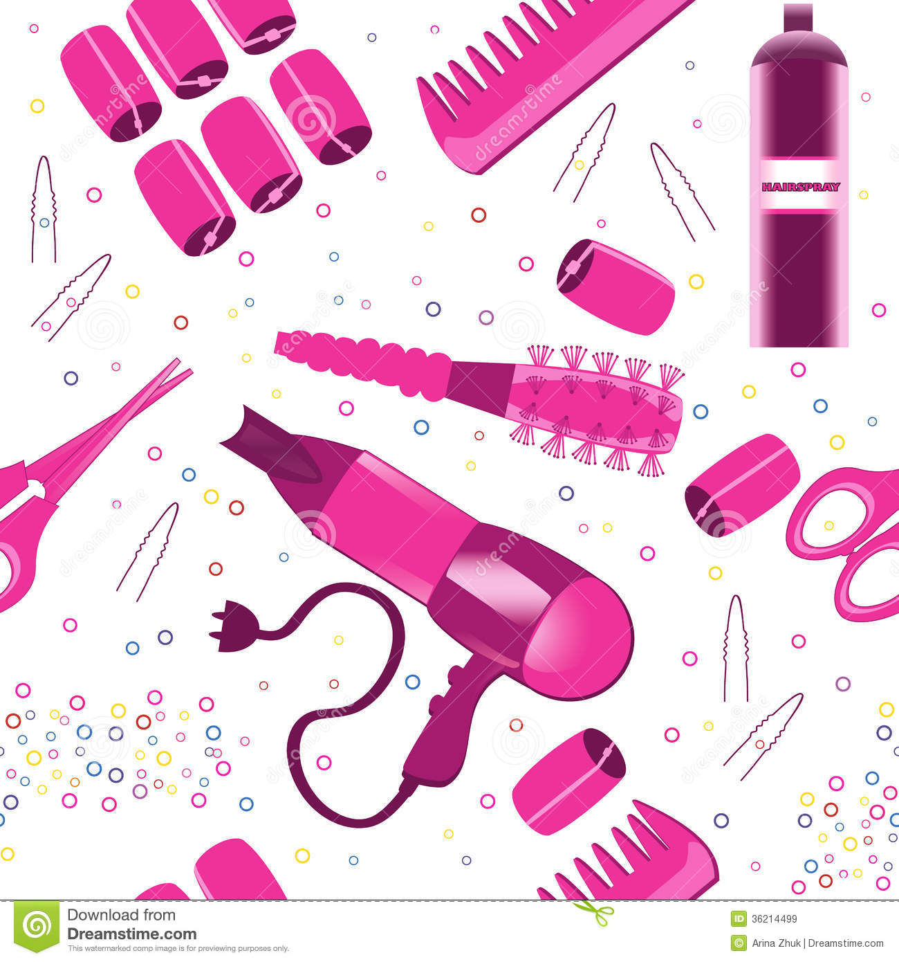 Hairdressing Accessories Pattern Stock Vector Illustration Of Brush Shop 36214499