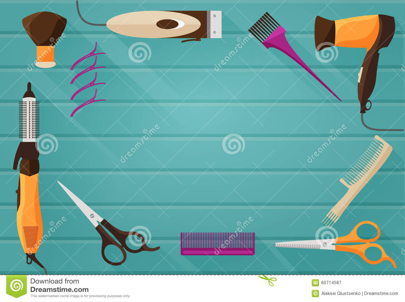 Hairdressing Salon Barbershop Tools Flat Background Stock