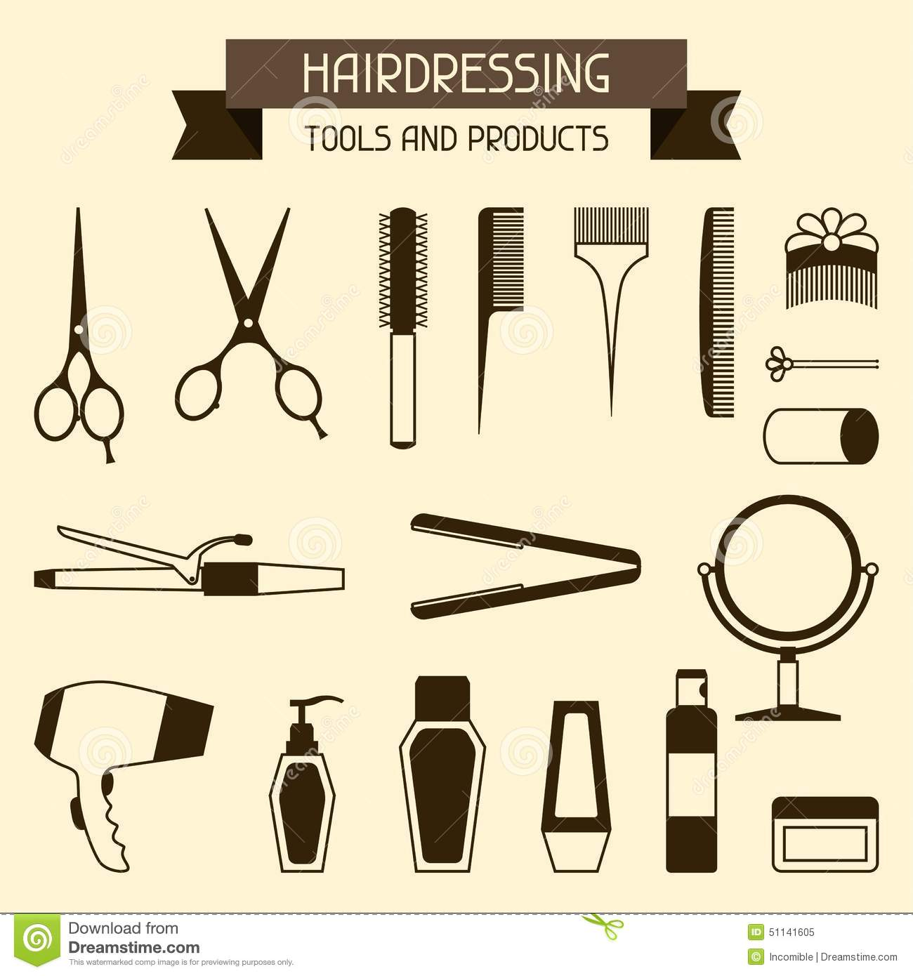 hairdressing tools and products stock vector illustration of