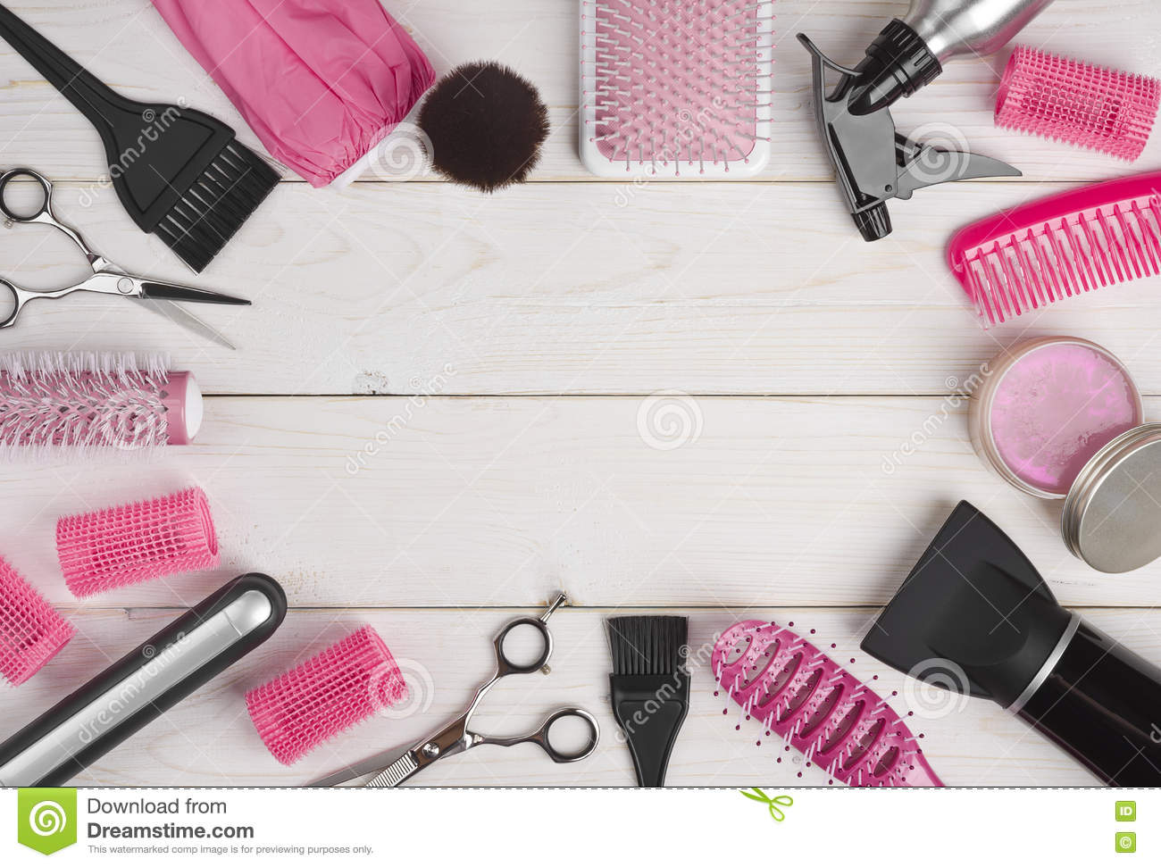 Hairdressing Tools On Wooden Planks Background With ...