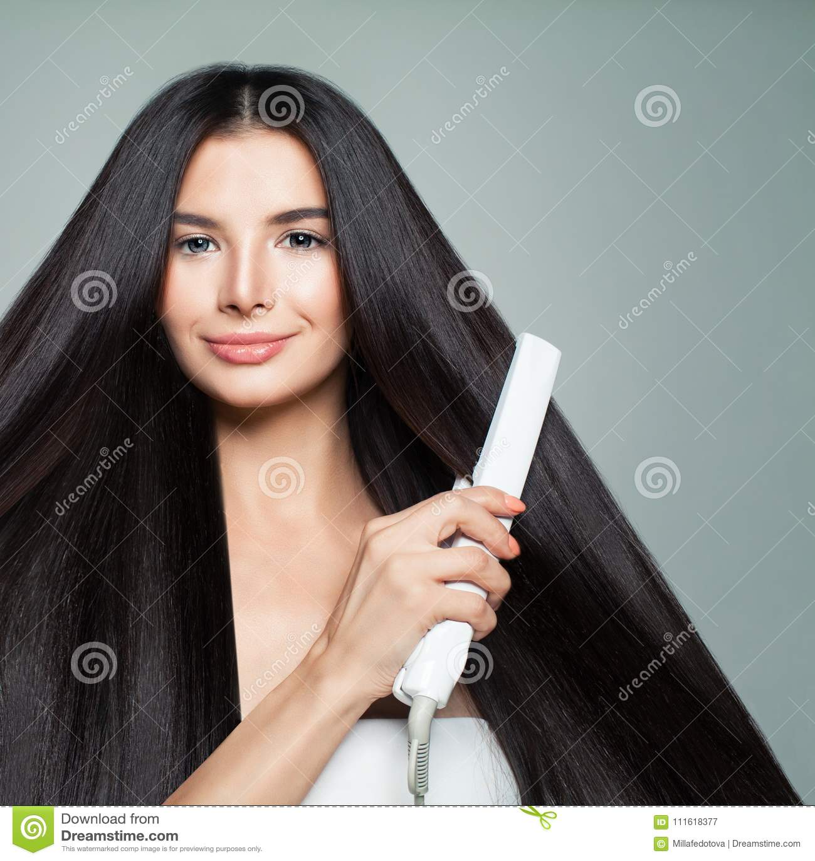 Hairdressing Vrouw met Mooi Lang Recht Haar
