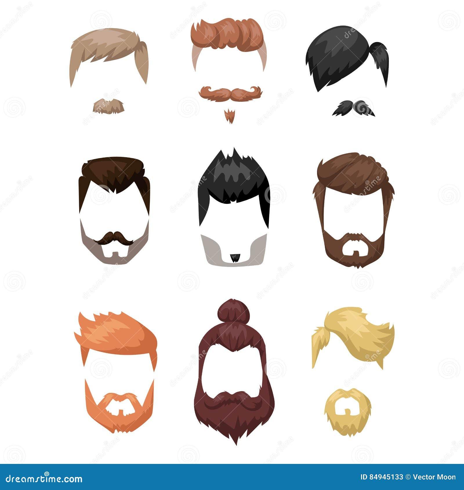 Hairstyle beard and hair face cut mask flat cartoon vector.