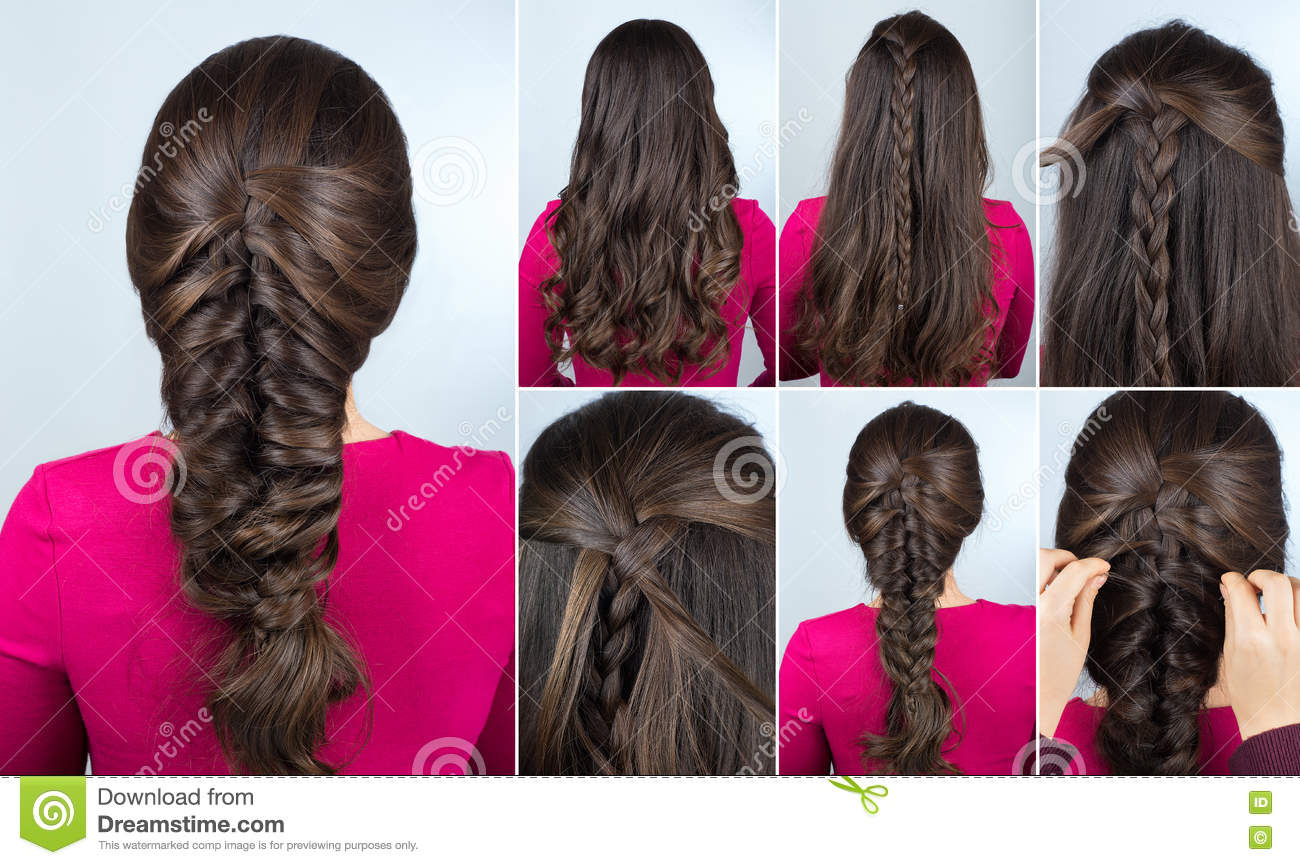 Hairstyle Braid On Curly Hair Tutorial Stock Image Image