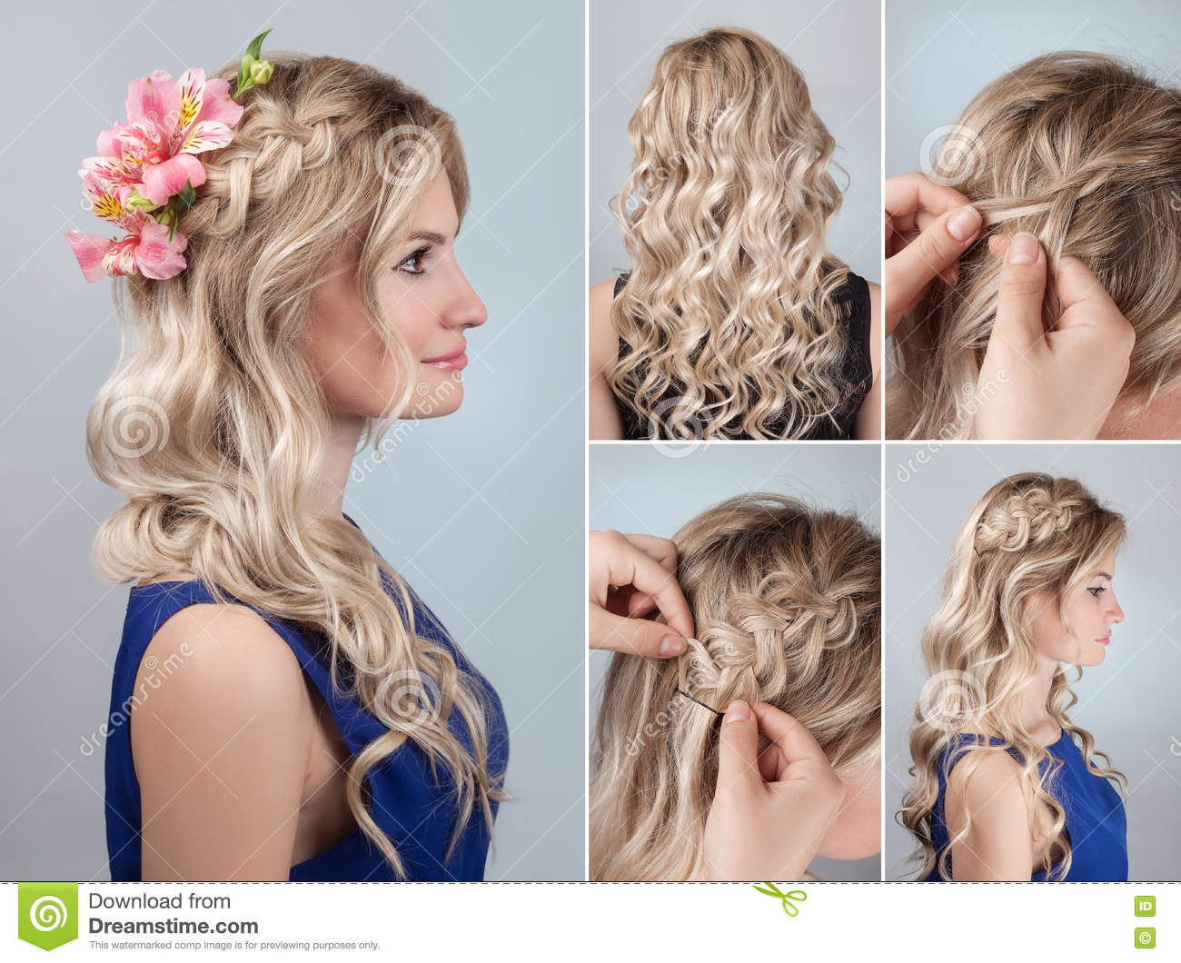 Hairstyle Braid With Fresh Flowers Tutorial Stock Photo Image Of