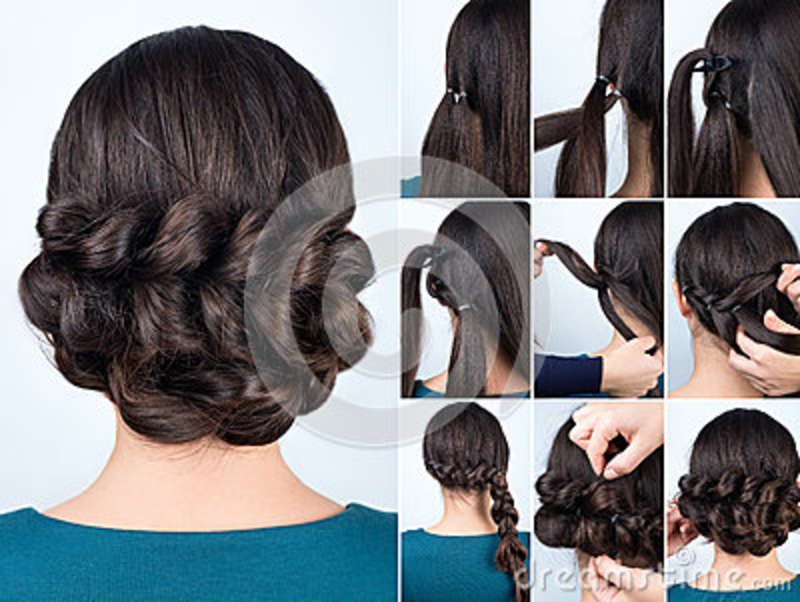 Hairstyle Braid For Long Hair Tutorial Stock Image Image
