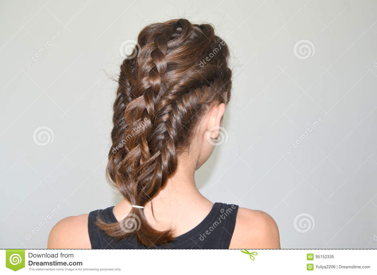 hairstyle braiding on medium length stock image - image of portrait