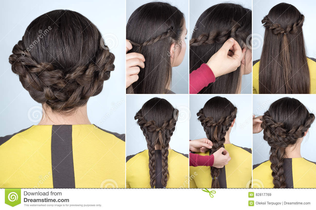 Hairstyle With Braids For Party Tutorial Stock Image Image Of