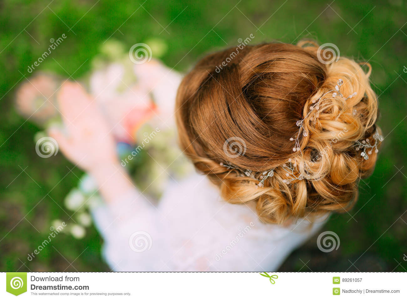 Hairstyle Of The Bride Close Up The Hairdresser Finished Making