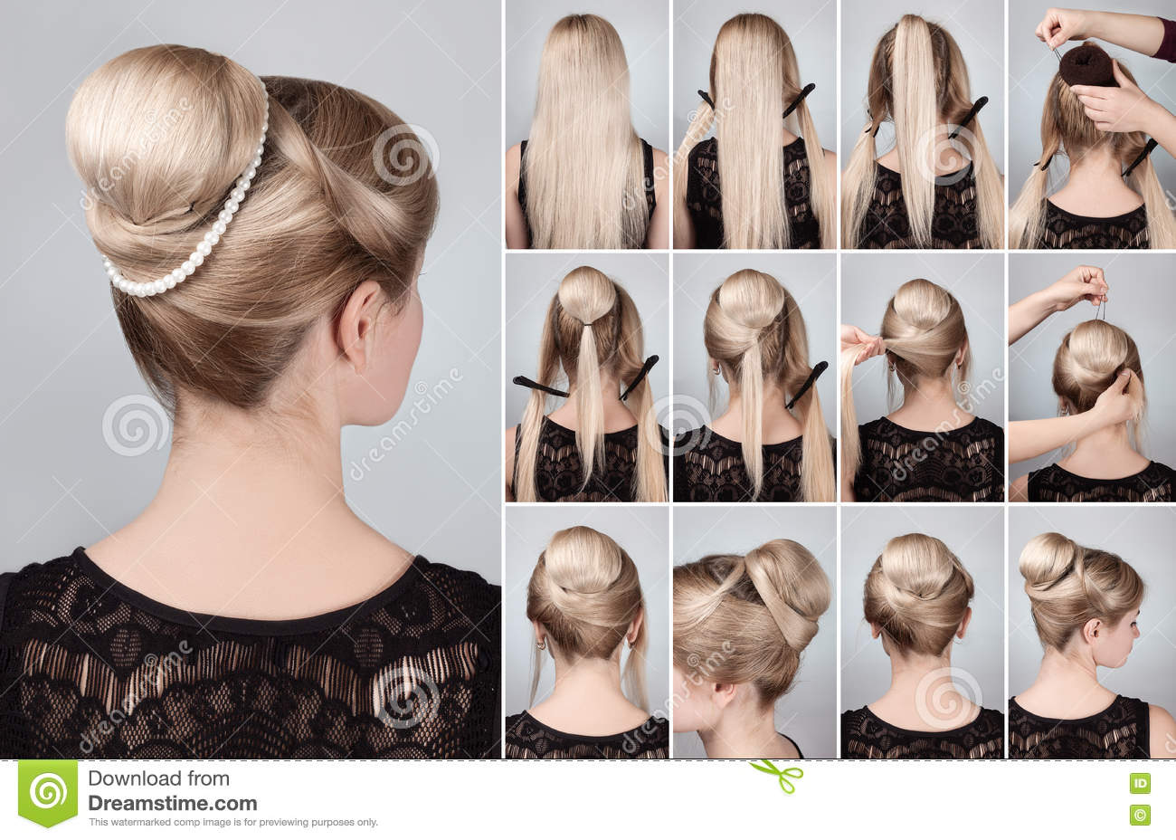 Hairstyle With Bun For Long Hair Tutorial Stock Image ...
