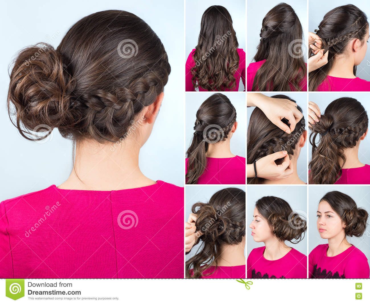 Curly hairstyles tutorials - Hairstyle Bun And Plait On Curly Hair Tutorial Stock Photography