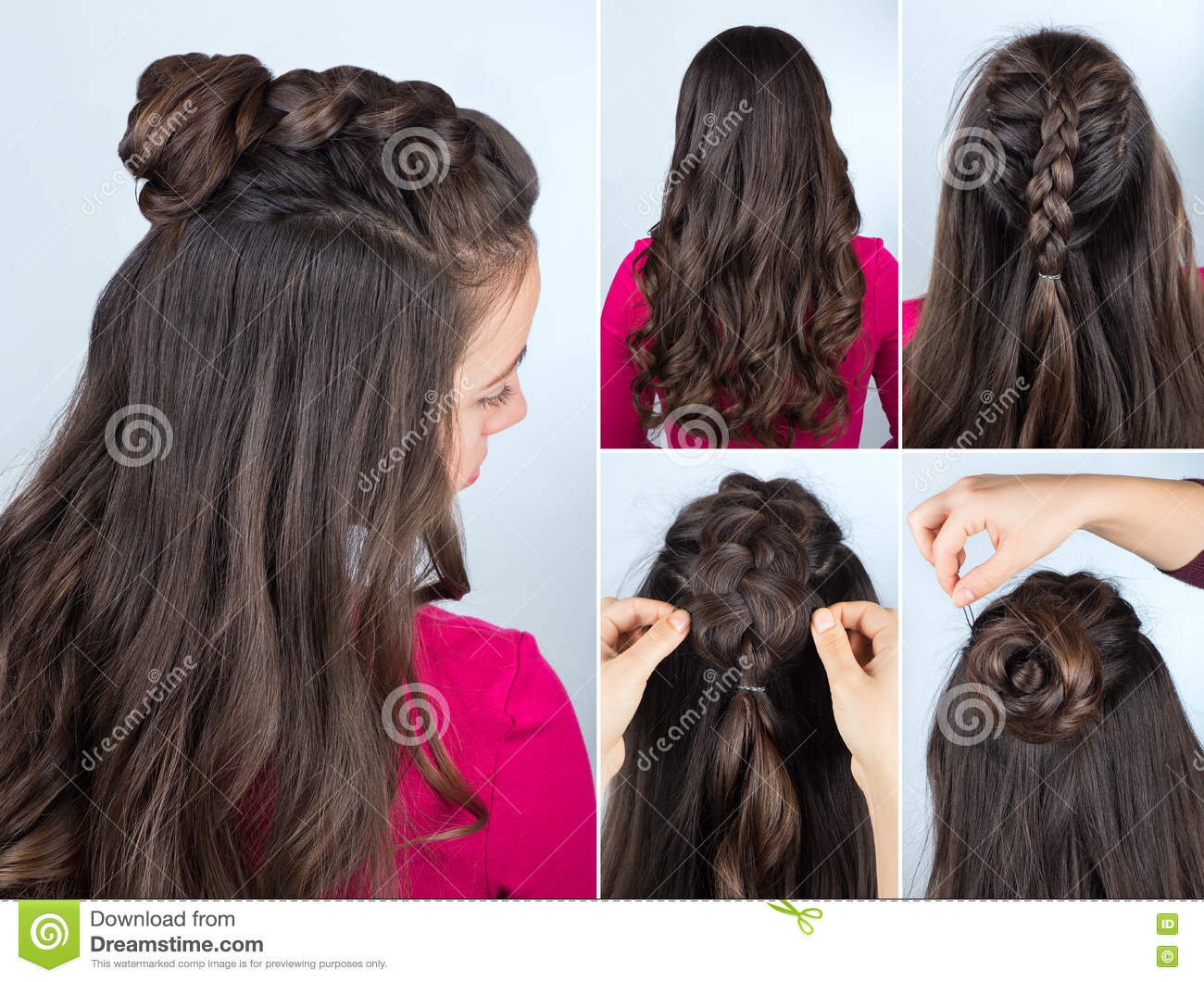 Hairstyle Bun With Plait Tutorial Stock Image Image Of Fashion