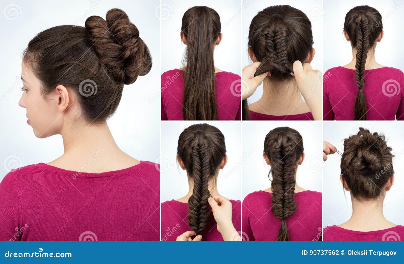 Hairstyle Bun Tutorial Stock Photo Image Of Long Stylist 90737562