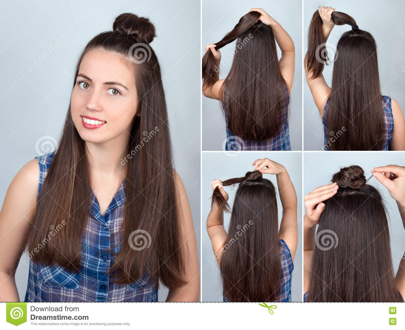Hairstyle Bun Tutorial Stock Photo Image Of Updo Home