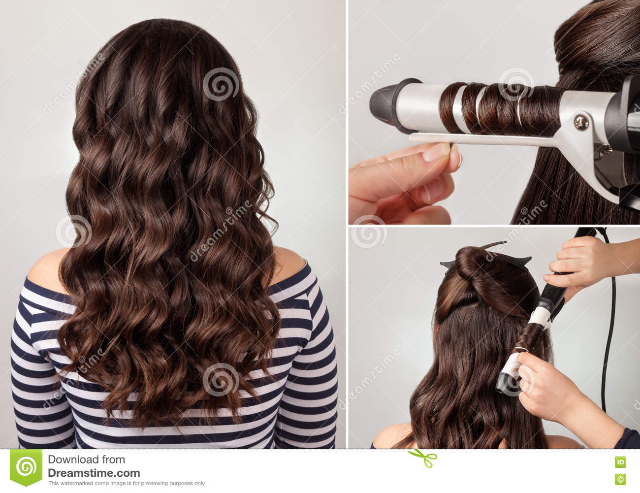 Groovy Hairstyle For Long Curly Hair Tutorial Stock Photo Image 70187733 Hairstyles For Women Draintrainus