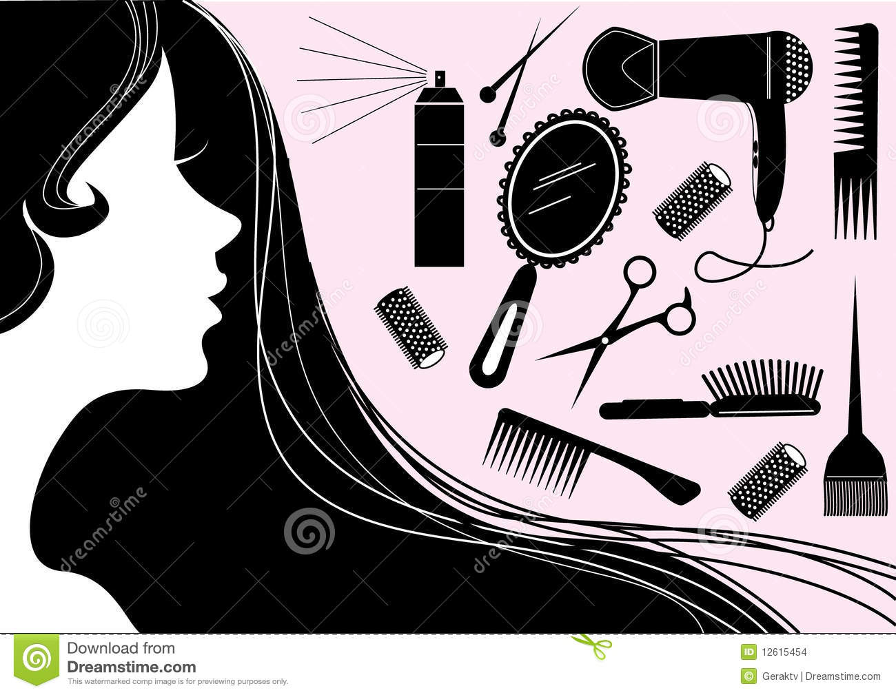 Hairstyle Vector: Hairstyle Elements For Salon With Face. Vector Silh Stock