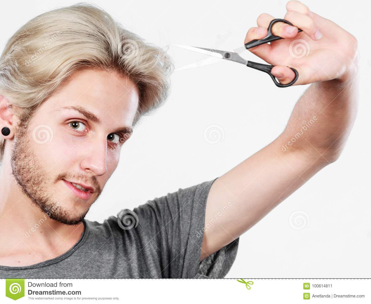 Man With Scissors Ready To Hair Cutting Stock Image Image Of Look