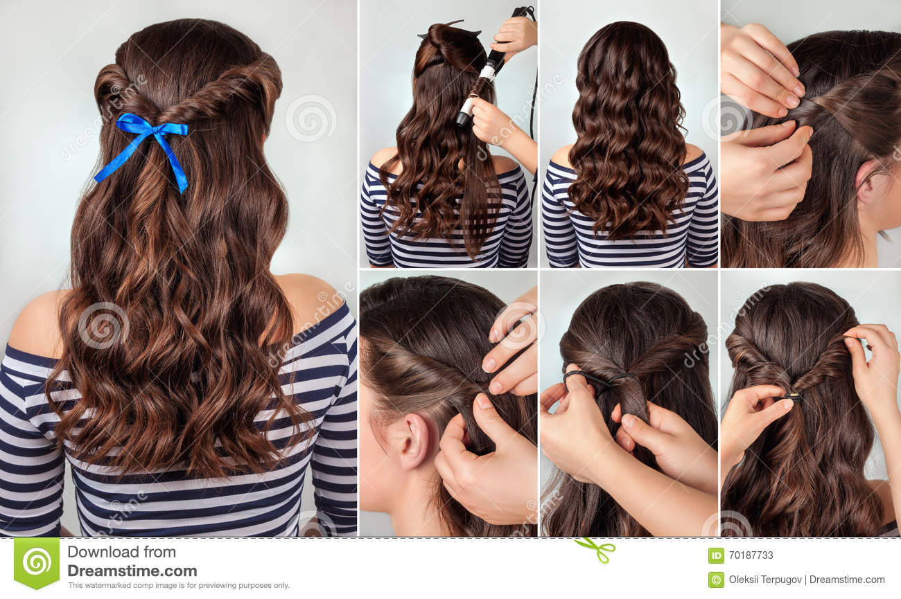 Hairstyle For Long Curly Hair Tutorial Stock Photos