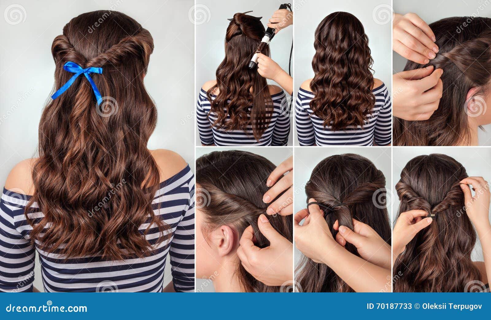 Awe Inspiring Hairstyle Curly Hair Tutorial Stock Photo Image 70382918 Hairstyles For Women Draintrainus